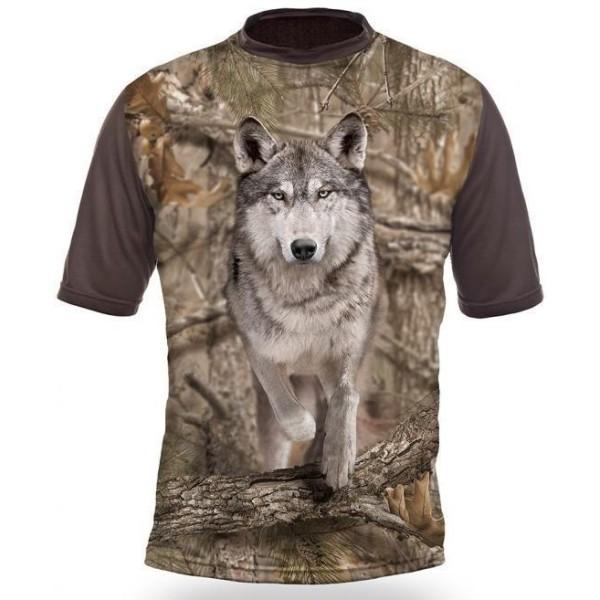 T-Shirt Short Sleeve. Wolf 3D